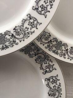 Vintage Black White Gray China Dinner Plates by 1350Northvintage & Retro stoneware dinner plates -Noritake Winterrose Japan vintage ...