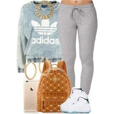 A fashion look from January 2015 featuring adidas Originals sweatshirts Forever 21 activewear pants and MCM backpacks. Browse and shop related looks. by candy Dope Outfits, Swag Outfits, Girl Outfits, Casual Outfits, Fashion Outfits, School Outfits, Fashion Tips, Fashion Trends, Dope Fashion