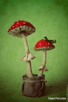 Купить Грибы Мухоморы - ярко-красный, мухоморы, грибы, Поганки, сувенир, саша русская, текстиль