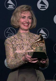 Hillary Clinton wins a Grammy.  Big Hair.