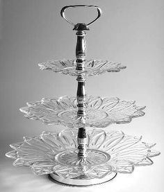 Federal Glass Petal-Clear 3-Tier Serving Tray