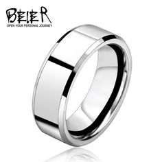 BEIER 2017 Silver Color Stainless Steel Men's Fashion Man Cool High Polished Man's Wedding Ring BR-R006 #Affiliate