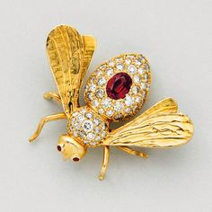 Garnet diamond gold bee brooch pin