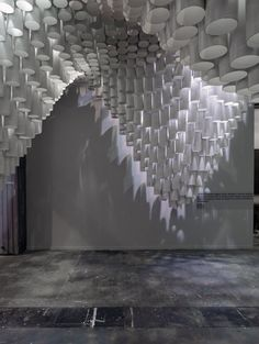 cardboard tubes by American studio Cristina Parreño Architecture and students from MIT hovered over visitors at the ARCOMadrid art fair in Spain last month