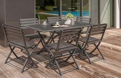 #SAlon de jardin MIAMI table pliante + 6 chaises en aluminium.
