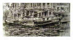 Schiff-Amsterdamer-Motiv-Originale-Zeichnung