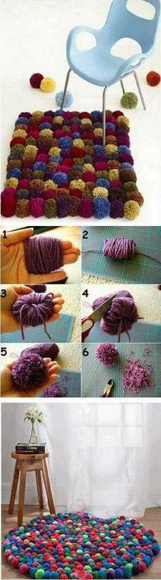 Diy alfombra de pompones