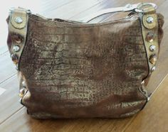 "Kathy Van Zeeland Croco Embossed Metallic Nappa Shopper w/Jewels EUC    Approximate measurements: Bag 13-1/2""W x 14""H x 10""D     Has beautiful mocha colored faux suede fabric.    Zip pocket on back, zip pocket on inside wall, slip pockets on opposite wall and zip compartment in middle."
