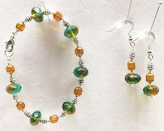 Czech Glass Earrings Czech Glass Beads Green Bracelet Green