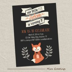 Fox Birthday Party Invitations  Little Woodland by miragreetings, $15.00