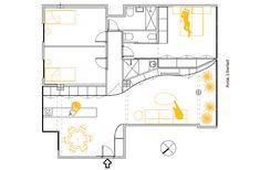 reforma integral por laura ortin - plano (23) Floor Plans, Floors, Curves, Architecture, Interiors, Floor Plan Drawing
