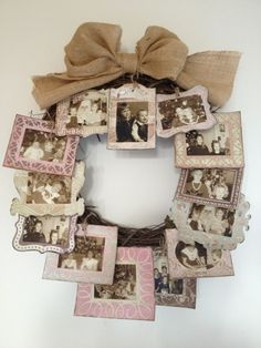 DIY Gift Idea - Use A Wicker Wreath And Attach Lots Of Mini Picture Frames To It And Add A Ribbon At The Top For Decoration And Hanging Purposes. Mini Picture Frames, Picture Frame Wreath, Photo Wreath, Door Picture, Wreath Crafts, Diy Wreath, Paper Crafts, Wreath Ideas, Burlap Wreath