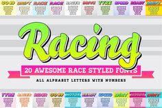 Awesome 20 Racing Fonts in Vector by Ckybe's Corner on @creativemarket