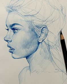 Artist: Alvin Chong, color pencil, 2014 {figurative art female head woman face…