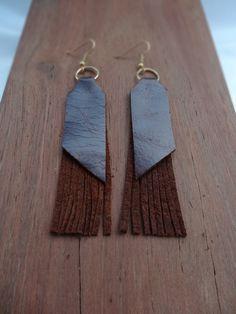 Leather fringed earrings - boho style by thingsofgemstone on Etsy Fringe Earrings, Boho Earrings, Drop Earrings, Leather Fringe, Boho Style, Boho Fashion, Stone, Handmade, Etsy