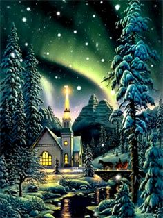 So heartfelt and quaint! Merry Christmas Gif, Christmas Scenes, Cozy Christmas, Christmas Images, Country Christmas, Vintage Christmas, Holiday Pictures, Winter Pictures, Snow Scenes