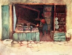 """'A Blacksmith's Shop' from """"Constantinople painted by Warwick Goble"""" (1906)"""