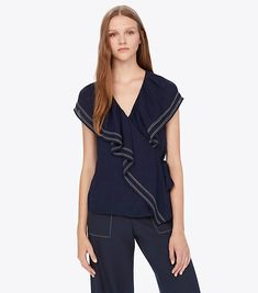 Visit Tory Burch to shop for Adelia Top and more Womens Season's Must-Haves. Find designer shoes, handbags, clothing & more of this season's latest styles from designer Tory Burch. Casual Date Nights, South Orange, Work Skirts, British Indian, Bow Blouse, Neck Wrap, Flutter Sleeve, Designer Shoes, Latest Fashion