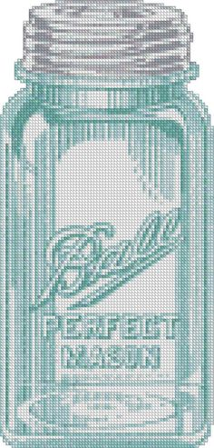"""Mason Jar Cross Stitch Pattern by madcreekdesigns. I want to cross stitch a bunch of these and tie onto my """"gifts in a jar"""", be it food, candles, solar lites, etc...how sweet would that be!"""