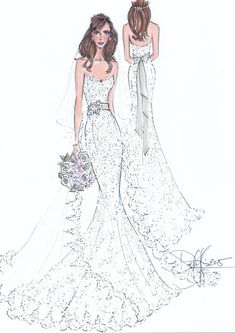 Custom Wedding Gown Illustration FRONT and by IllustrativeMoments
