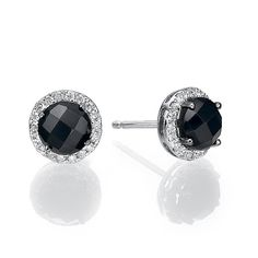 14K White Gold Earings Set With Synthetic by gispandiamonds