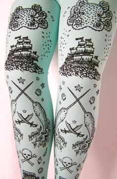 Amazing piratical tights...with narwhals, octopus, ships!!