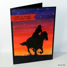 sunset silhouette horse and rider card by Beccy Muir Owl Punch, Punch Art, Infinity Card, Fantail Goldfish, Handmade Birthday Cards, Handmade Cards, Sunset Silhouette, Irish Blessing, Stampin Up Christmas