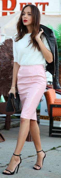 Pink Lady by Ring My Bell Ashley Madekwe Pink pencil skirt Mohair sweater. Strappy black stilettos