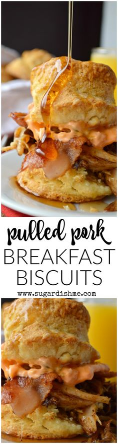 Pulled Pork Breakfast Biscuits are southern inspired and loaded with goodness. Breakfast really doesn't get any more indulgent than this!