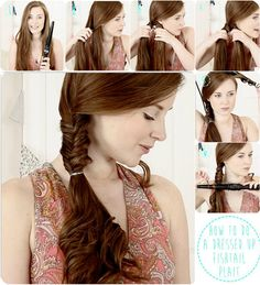 dressed up side -wide fishtail braid ponytail hairstyle with straight hair extension clip on
