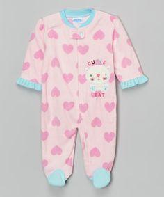 Look what I found on #zulily! Pink Cutie Cat Fleece Footie - Infant by bon bébé #zulilyfinds