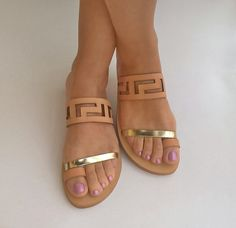 """Natural sandals with gold leather strip """"Oleana"""". Classy women flat shoes with meander shape in natural-gold color"""