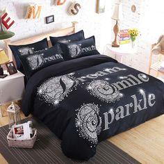 Brand Bedding Set Duvet Cover For Couples Plain Letter Print Pattern Bed Linens Sheet Pillow