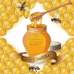 Image detail for -Jar of honey with wooden dipper, bees and ribbon over background with ...