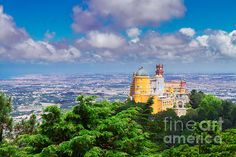 Palacio Pena and valley of Sintra rom above, Portugal by Anastasy Yarmolovich #AnastasyYarmolovichFineArtPhotography  #ArtForHome #Portugal