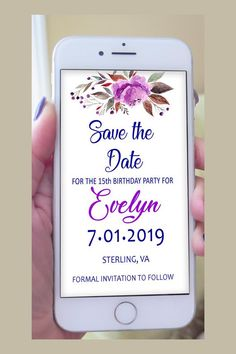 Quinceanera Save Date Digital Invite Birthday Email