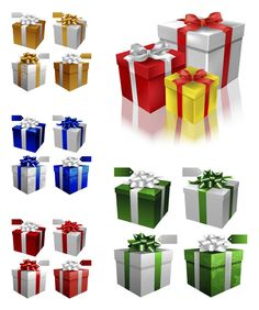3d #Christmas gift boxes #vector