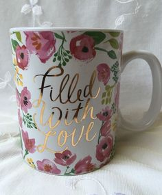 Valentines Day Filled With Love Coffee Cup Mug 14 oz Gold Pink Flowers Gift New #BonnieMarcusCo
