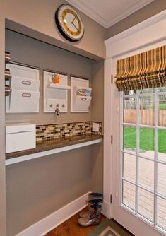 if you have a narrow closet by an entry door, turn it into an Organization Station