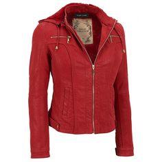 Black Rivet Center Zip Faux-Leather Jacket w/Hood Was: $250.00                     Now: $99.99