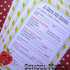 Make your life a little easier and add some charm with these free printable school notes. Just check the appropriate boxes to let your kid's teacher know of an absense, a need to leave early, sending money for lunch or other important information.View This Tutorial