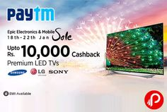 Paytm Epic Electronic & Mobile offers UPTO Rs. 10000 Cashback on Premium LED TVs. Samsung, LG, Sony, Panasonic Brands. Smart TV, Standard, 3D TV. LED, Curved LED. Paytm Coupon Code – TAKE10K | TAKE22  http://www.paisebachaoindia.com/get-upto-rs-10000-cashback-on-premium-led-tvs-epic-electronic-mobile-paytm/