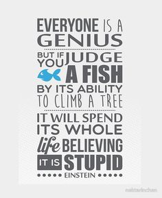 Everyone is a genius. But if you judge a fish by its ability to climb a tree, it will spend its whole life believing it is stupid – Einstein