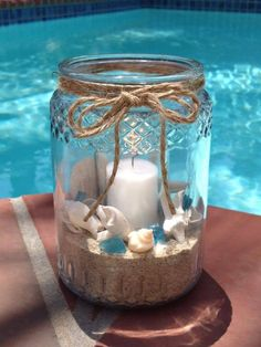 Gold Canyon scented candles, jar candles, wickless and flameless scents, candle holders and more. Mason Jar Crafts, Bottle Crafts, Mason Jars, Seashell Crafts, Beach Crafts, Fish Crafts, Resin Crafts, Beach Centerpieces, Beach Table Decorations