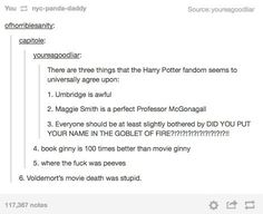 "When they finally figured out that there were some things they all agreed on. | 29 Times Tumblr Raised Serious Questions About ""Harry Potter"" (ZOMG! These are hysterical! LOL!)"
