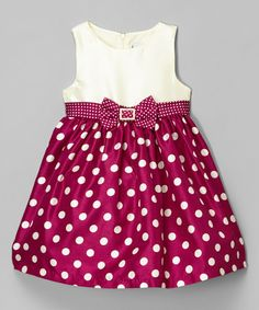 Another great find on #zulily! Wine Rhinestone Dot Shantung Dress - Infant, Toddler & Girls #zulilyfinds