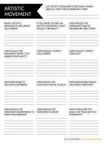 Invent your own writing movement with this worksheet! > http://eadeverell.com/writer-worksheet-wednesday-artistic-movement/?utm_content=buffer60b49&utm_medium=social&utm_source=pinterest.com&utm_campaign=buffer