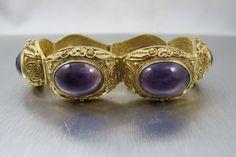 Vintage Chinese Amethyst Bracelet, Sterling Vermeil Filigree Fortune Shou Good Luck Symbols Chinese Export