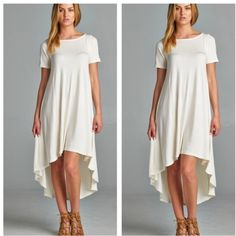 Asymmetrical dress RE STOCKED High low chic asymmetrical dress PLEASE USE Poshmark new option you can purchase and it will give you the option to pick the size you want ( all sizes are available) BUNDLE And SAVE 10% ( sizes updated daily ) Dresses