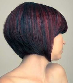 Cool Graduated Bob Cut with Hues of Red